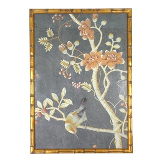 1970's Chinoiserie Painting on Tea Paper in Gilt Faux Bamboo Frame by Jardins en Fleur For Sale