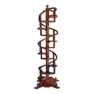 Custom Made Hand Crafted Wooden Spiral Shelf