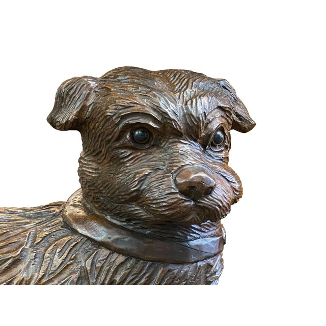 19th Century French Carved Dog With Glass Eyes For Sale - Image 4 of 6