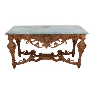 French Sculpted Wood Louis XIV Style Console For Sale