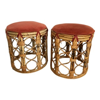 Upholstered Bentwood Stools - Vintage Pair For Sale