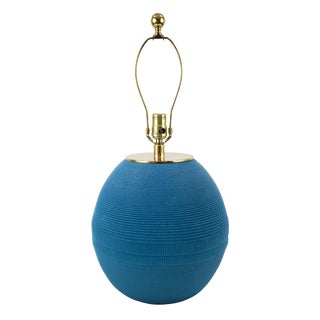 Vintage Postmodern Turquoise Corrugated Paper Lamp For Sale
