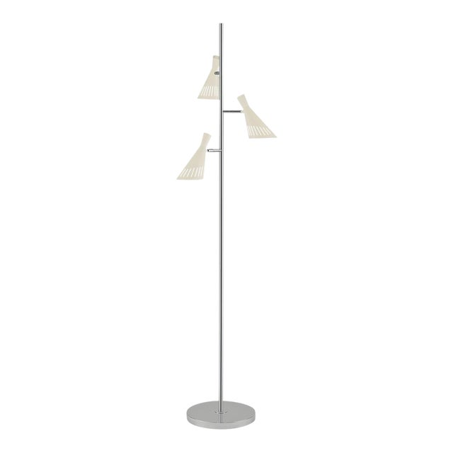 Metro Ivory With Polished Chrome Floor Light With 3 Lighting Cones For Sale