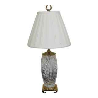 1990s Traditional Crystal & Brass Table Lamp For Sale