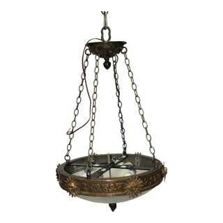1990s English/Empire Bronze and Alabaster Chandelier For Sale