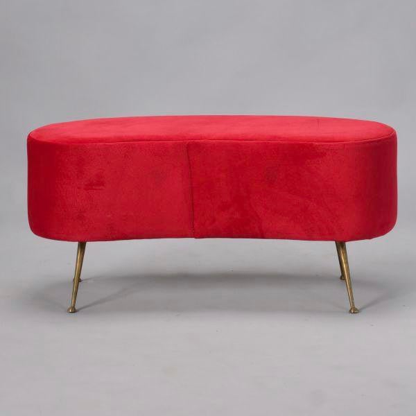 Italian Gio Ponti Style Kidney Shape Bench with Brass Feet - Image 5 of 9