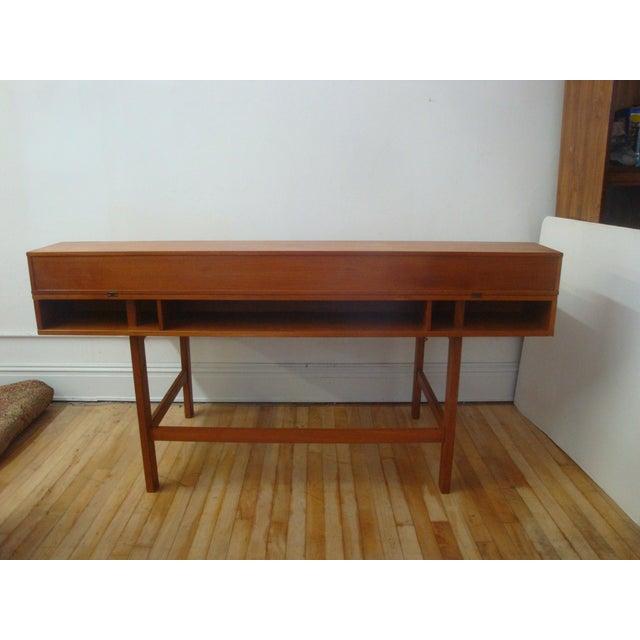 Brass Dansk Lovig Flip-Top Teak Partners Desk or Table For Sale - Image 7 of 10