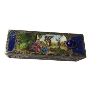 Antique Silver Enamel Decorative Lipstick Case For Sale