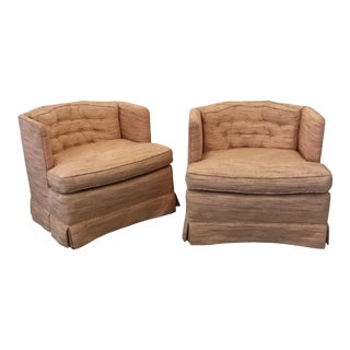 Vintage Slipper Chairs With Panelled Shape - a Pair For Sale
