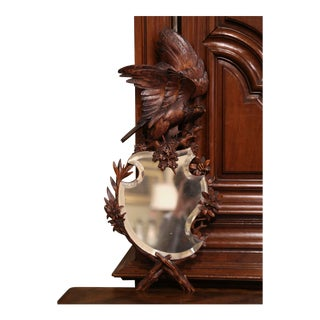19th Century French Black Forest Carved Walnut Mirror With Eagle Sculpture For Sale