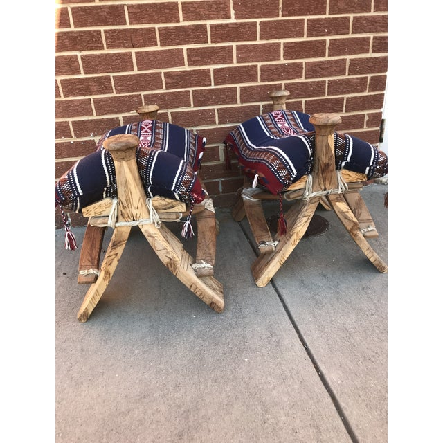 Mediterranean Modern Wooden Camel Saddle Benches- A Pair For Sale - Image 3 of 10