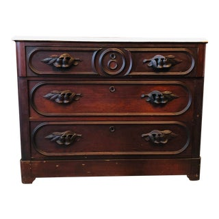 Antique Mahogany Eastlake Dresser With Marble Top For Sale