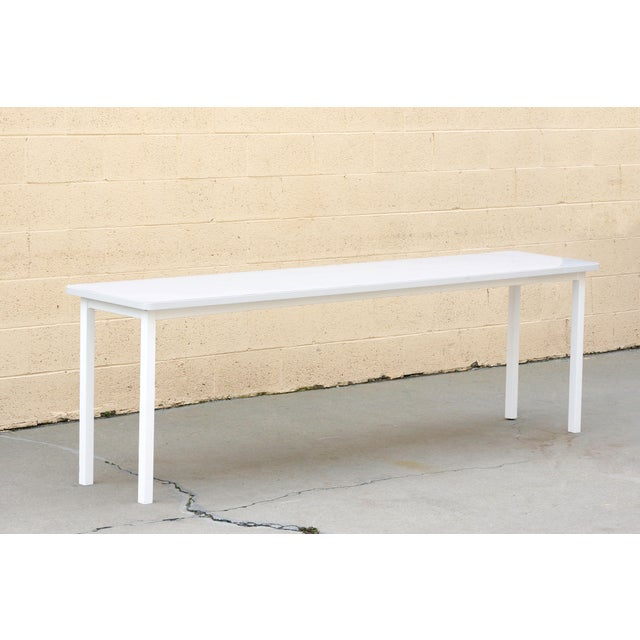 2010s Tanker Inspired Steel Console Table in Gloss White, Custom Made For Sale - Image 5 of 5