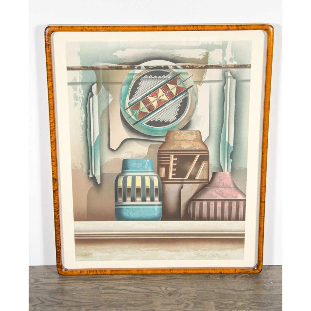 "Original Signed lithograph titled ""Shield"" by James Carter. It also has a custom burled elm frame. This piece has been..."