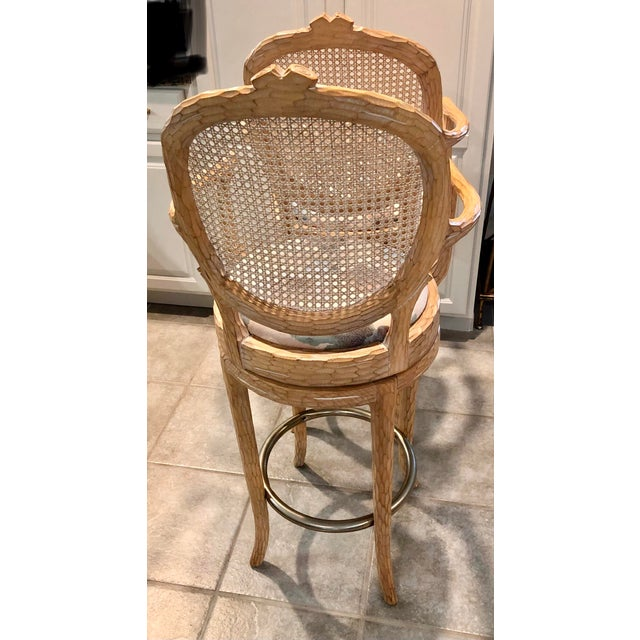 Metal Vintage Faux Bois Cane Back Whitewash Natural Wood Stools With Arms and Brass Footrests - Set of 4 For Sale - Image 7 of 11
