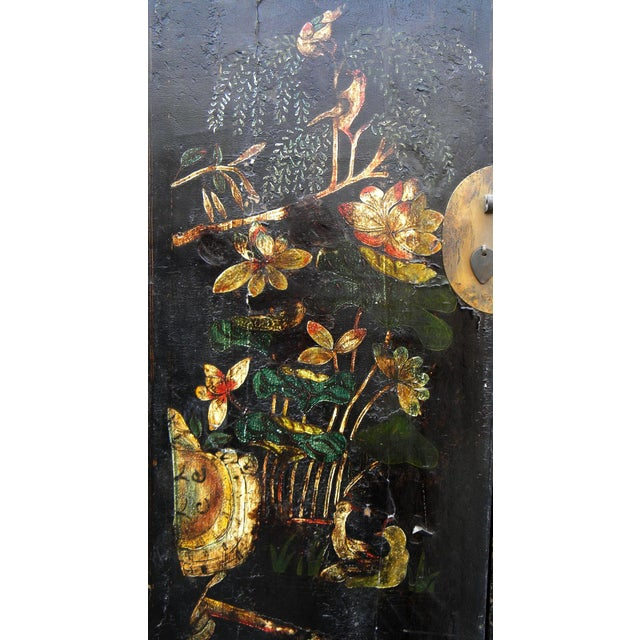19th Century Chinoiserie-Style Black Elm Cabinet For Sale In Boston - Image 6 of 11