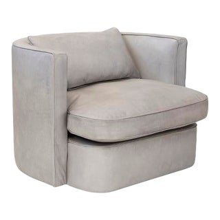 Gray Leather Swivel Chair For Sale