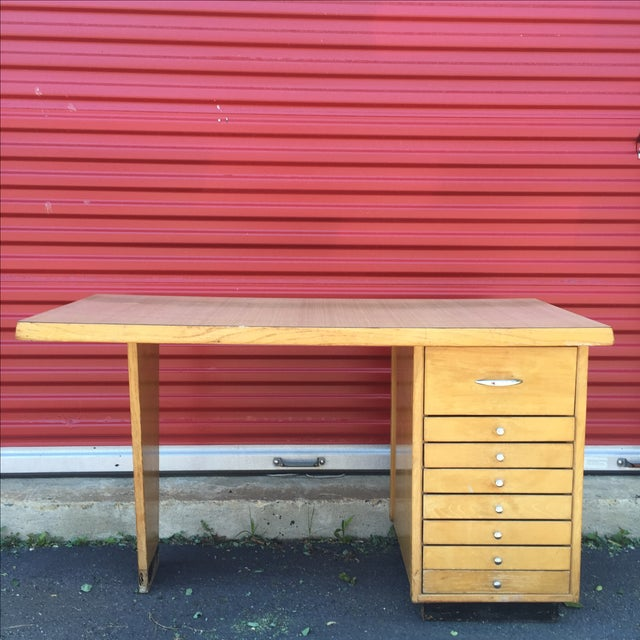 Mid-Century Modern Eight Drawer Desk - Image 2 of 11