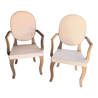 Paola Navone Oak and Leather Parchment Arm Chairs- a Pair For Sale