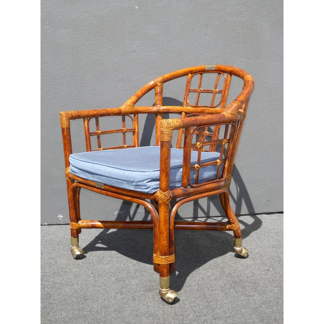 Mid-Century Modern Bamboo & Rattan Arm Chairs - 4 - Image 7 of 11