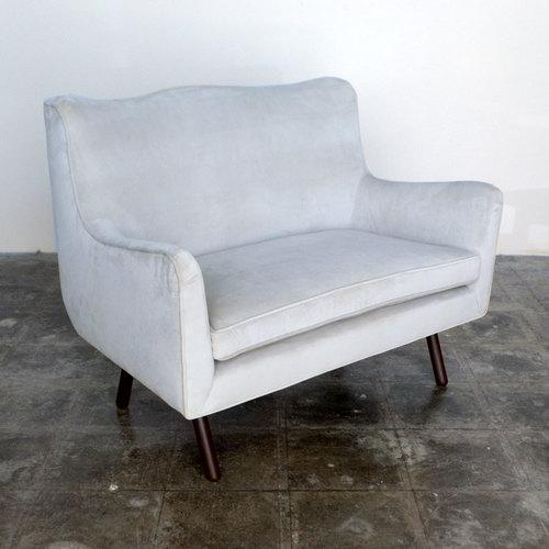 Contemporary Foundation Dove Gray Duplex Settee For Sale - Image 3 of 4