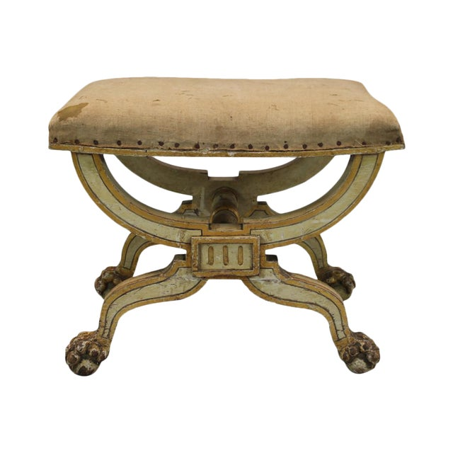 French Painted & Gilded Wood Stool With X Form Base For Sale