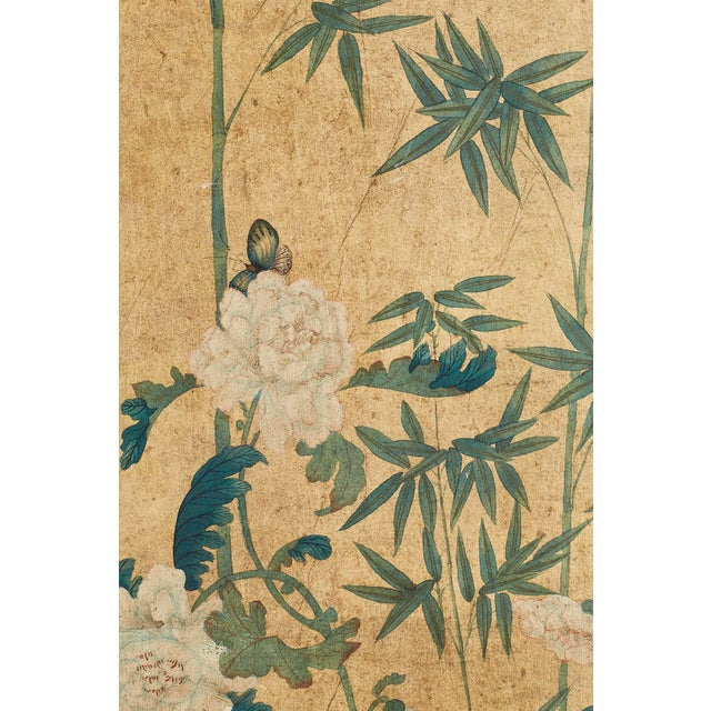 Tan Continental Painted Chinoiserie Wallpaper Screen With Decoupage For Sale - Image 8 of 13