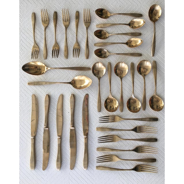 1960s Mid-Century Modern 6-Place Gold Plated Flatware Set For Sale - Image 11 of 11
