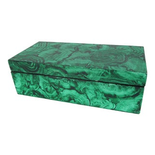 Faux Malachite Hand Painted Box For Sale