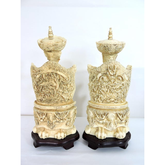 Chinoiserie Vintage Chinese Faux Ivory Emperor and Empress Statues or Figures - a Pair, With Stands For Sale - Image 3 of 11