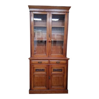 C.1910 Mahogany Tall Cabinet. Glass Door Over Cupboard. For Sale