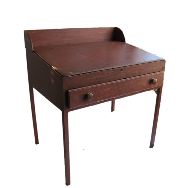 Original Red Painted Schoolmaster's Desk - Image 7 of 9