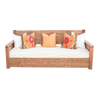 Teak Floral Carved Daybed For Sale