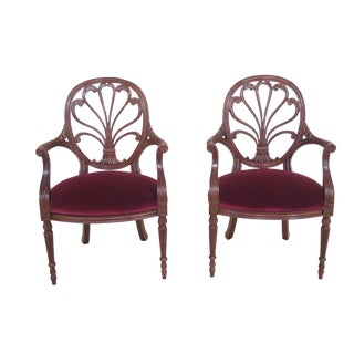 Hickory Chair Carved Mahogany Open Arm Chairs - a Pair