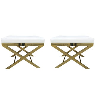 Pair of X-Frame Benches in Solid Brass by Charles Hollis Jones, Signed For Sale