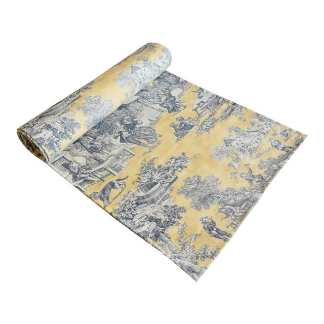 "Custom French Country Farmhouse Toile Table Runner 110"" Long For Sale"