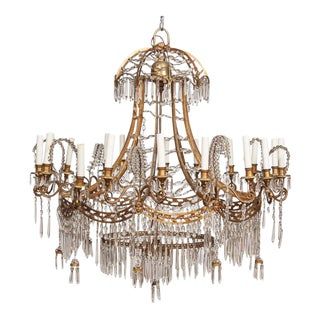 German Neoclassical Bronze and Cut Glass Chandelier