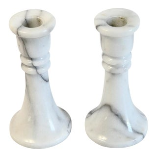Marble Candle Holders - A Pair