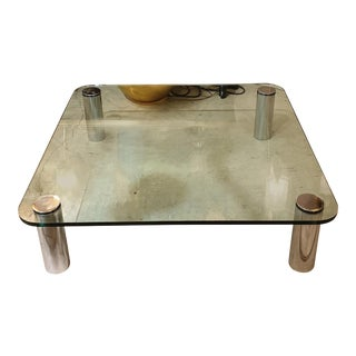 Large Mid Century Modern Square Coffee Table Karl Springer Pace Coll. Style 1970s For Sale