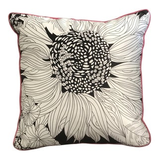 Black & White Floral Box Style Silk Decorative Pillow With Pink Piping For Sale