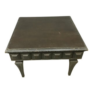 Vintage Black Wood Square Table