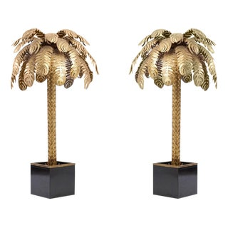 Pair of Very Impressive Brass Palm Floor Lamps by Maison Jansen For Sale