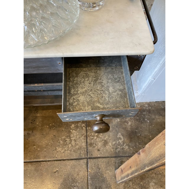 Antique Zinc and Marble Dry Sink Basin For Sale - Image 9 of 11