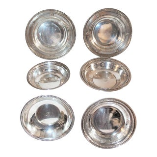 Sterling Silver Bon Bon Bowls - Collection of 6 For Sale