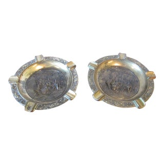Vintage Italian Medieval Relief Brass Ashtrays - A Pair
