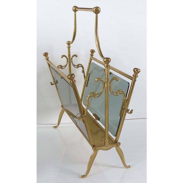 Gold 1970s Hollywood Regency Fontana Arte Brass Magazine Rack For Sale - Image 8 of 10