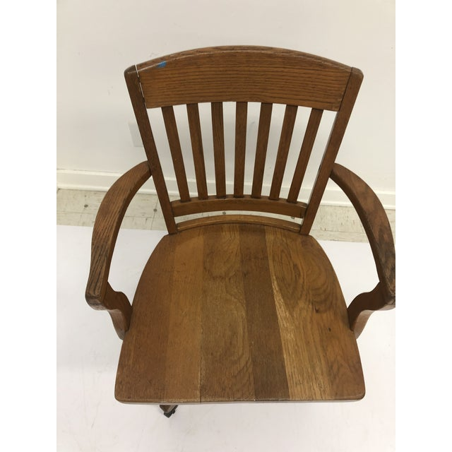 Vintage Industrial Wood Swivel Banker Chair For Sale - Image 10 of 13