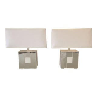 Robert Abbey Modern White Metal and Chrome Accent Lamps - a Pair For Sale