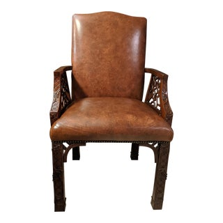 1990s Vintage Maitland Smith Mahogany and Brown Leather Desk Chair For Sale