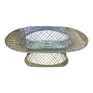 Boho Chic Vintage Spun Fiberglass Oval Table For Sale